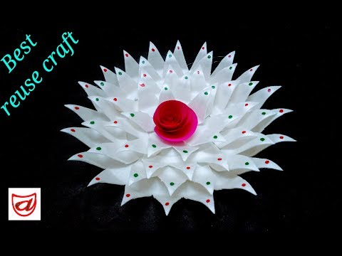Home decorating flower from Disposable plate   DIY Thermocol sheet craft