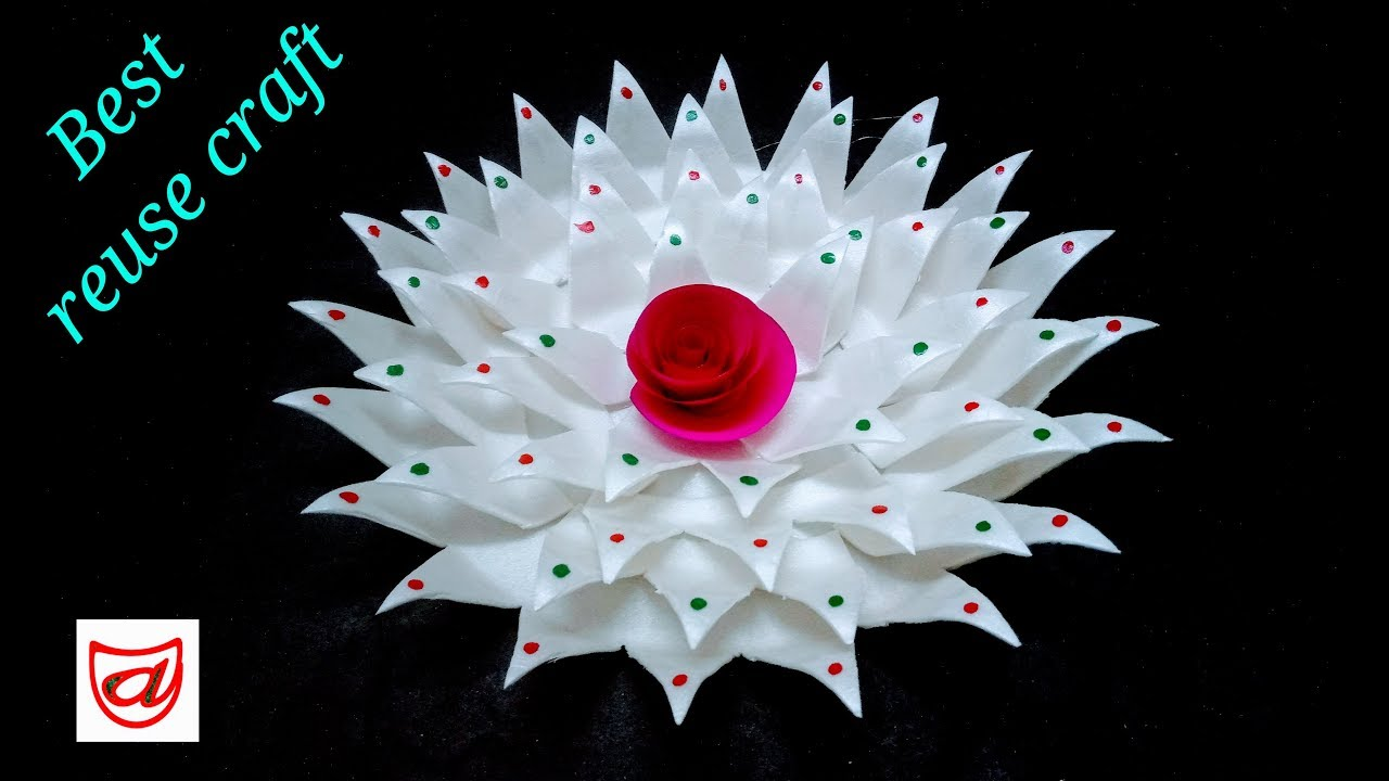 Home Decorating Flower From Disposable Plate Waste Material Craft