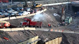 2012-01-30 LIRR rail yards dump truck spews massive amount of exhaust on public streets