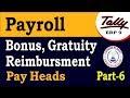 Tally Payroll-Bonus, Gratuity and reimbursement Pay Heads Class-6 | Payroll in Tally ERP 9 Part-113