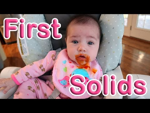 Baby Girl's First Solid Food!   Solids at 4 Months Old