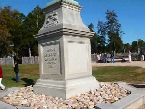 Travel Virginia:  Statue and riverview at Jamestown Settlement