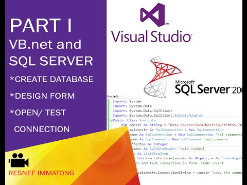 VB.net and SQL Server Create database, design form and open data source connection. PART I