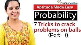 Aptitude Made Easy - Probability – 7 Tricks to solve problems on Balls and bags – Part 1