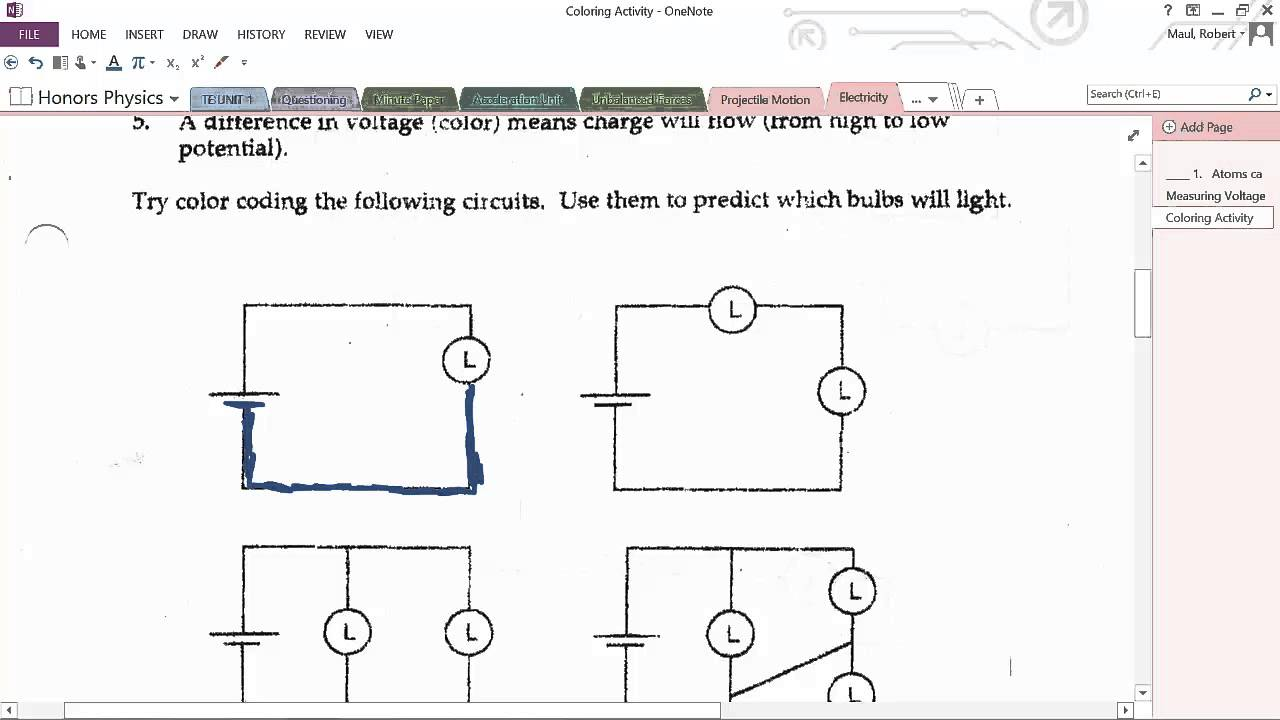 honors physics color coding circuits youtube