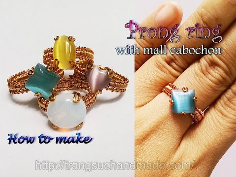 Prong ring with mall cabochon - How to make jewelry from copper 381