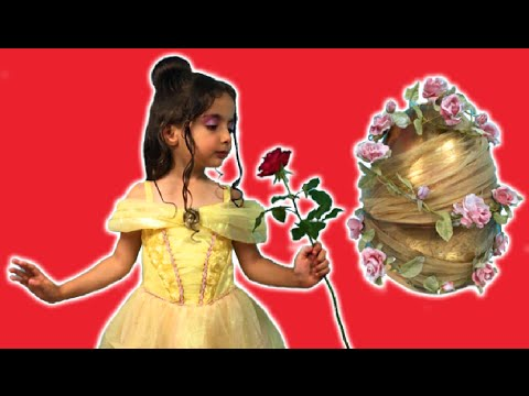 BELLE OPENS GIANT SURPRISE CANDY KINDER EGG | Dress Up | Princesses In Real Life | Kiddyzuzaa