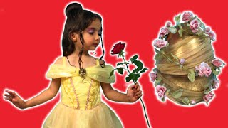 Disney Princess In Real Life Video Giant Surprise Egg Toys + Dress Up + Candy + Kinder Egg – BELLE!