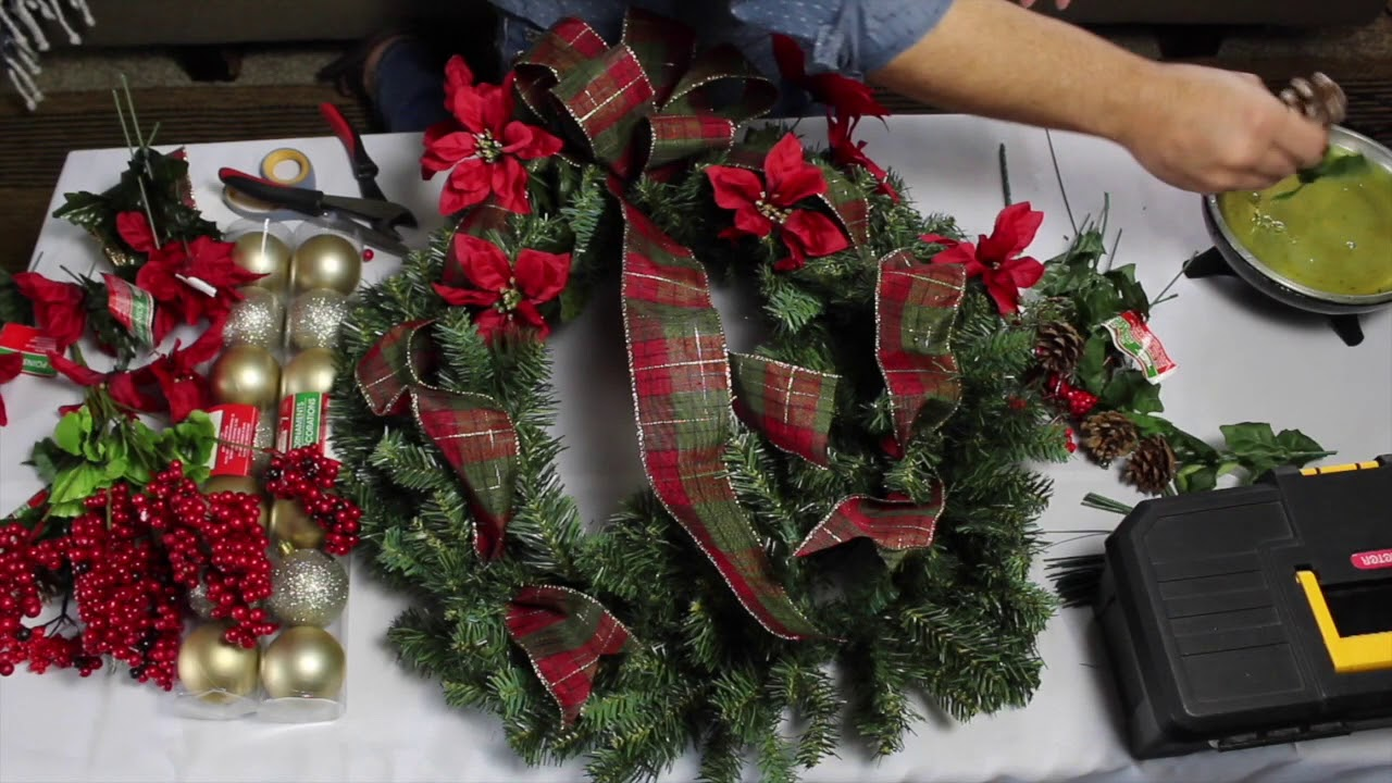 Easy Diy Dollar Tree Christmas Wreath Wreath Tutorial 2018 Traditional Christmas Wreath