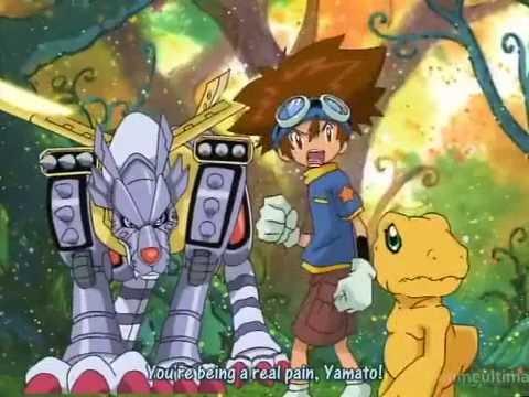 Digimon Adventure-METALGARURUMON vs WARGREYMON