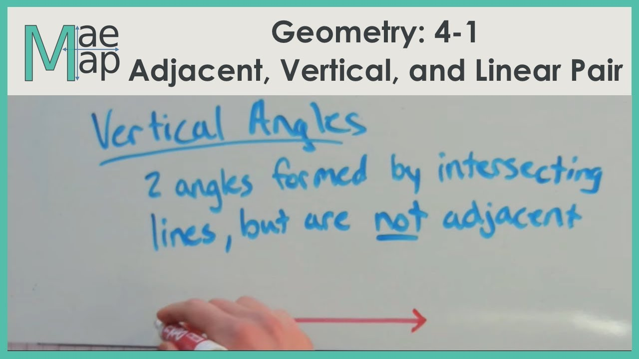 Geometry: 4-1 Adjacent Angles, Vertical Angles, and Linear Pairs ...