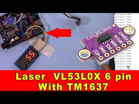 Using VL53L0X 6 pin Laser module with TM1637 LED Display to