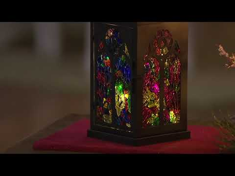 """15"""" Illuminated Mosaic Glass Cathedral Metal Lantern by Valerie on QVC"""