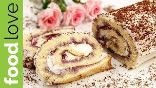 БИСКВИТНЫЙ РУЛЕТ с черной смородиной. Простой рецепт | Десерт | FoodLove