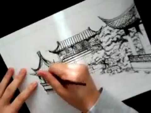 Chinese Garden Ink Drawing Youtube