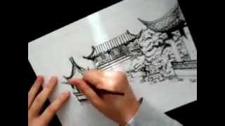 chinese garden ink drawing