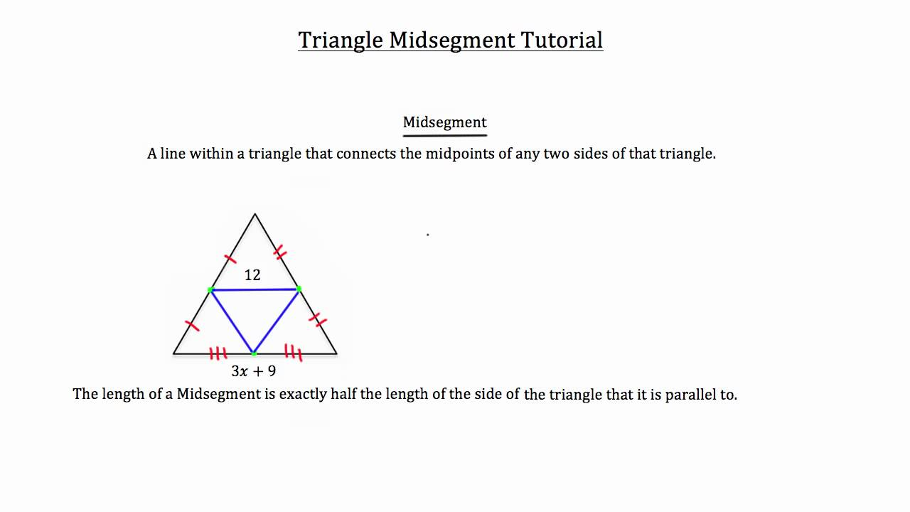 Geometry 5-4 triangle midsegment theorem youtube.