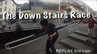 THE INLINE SKATES CROSS (Down Stairs)