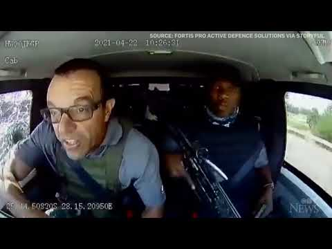 Driver of armoured vehicle evades armed robbers in brazen highway heist   CAUGHT ON CAMERA