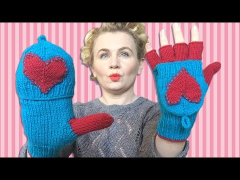 FINGERLESS GLOVES - With Heart Design & Individual Fingers. Valentines Day Gift!