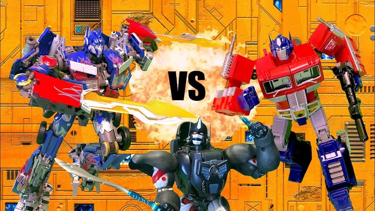 Transformers Optimus Vs Prime Vs Optimus Primal Feat Epicvoiceguy Toy Battle Stop Motion