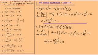 Test de analiza matematica, clasa a 12-a (tehnologic)