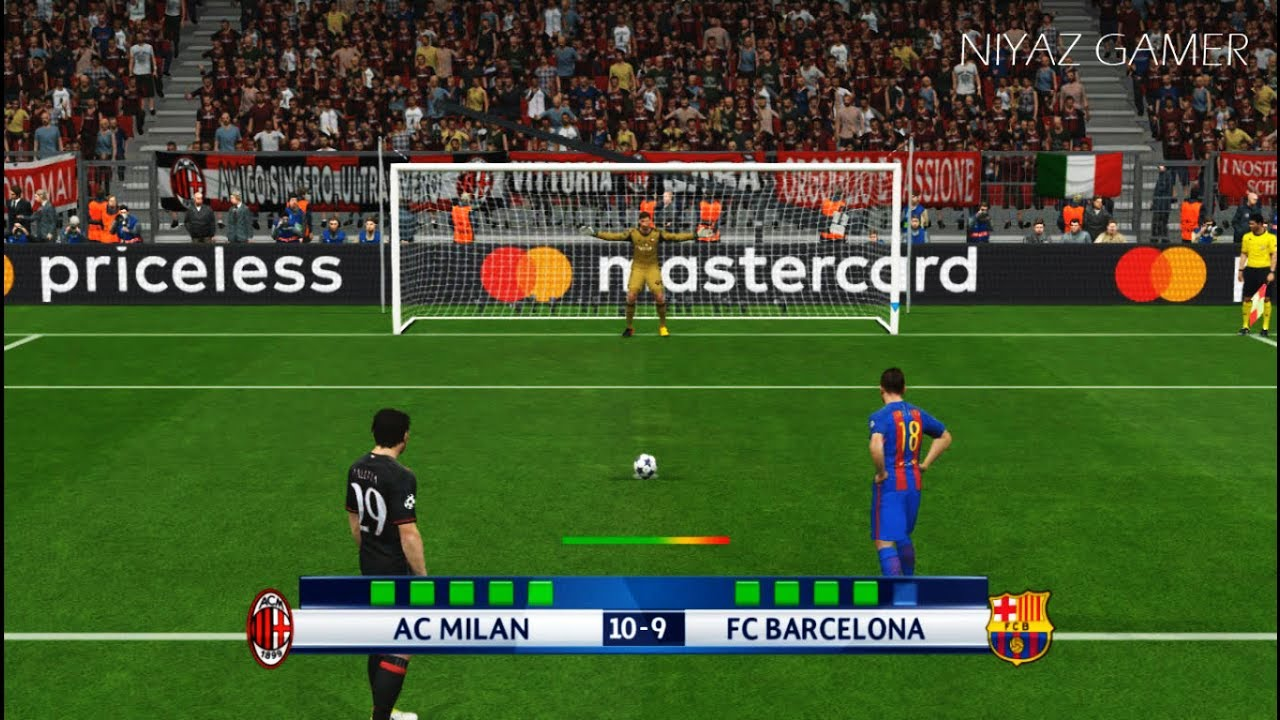 Ac Milan Vs Fc Barcelona Penalty Shootout Pes 2017 Gameplay Youtube