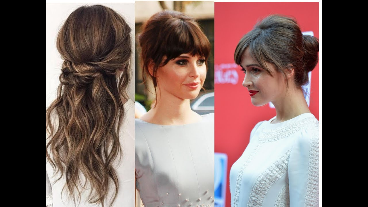 updos with bangs| hairstyles|half up, half down hairstyles