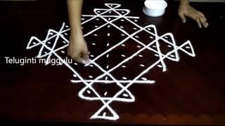 Melikala muggu(sikku) kolam designs with 11-1 straight | chukkala muggulu with dots| rangoli design