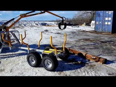 Range Road RR701 ATV Log Trailer with Hydraulic forwarder crane