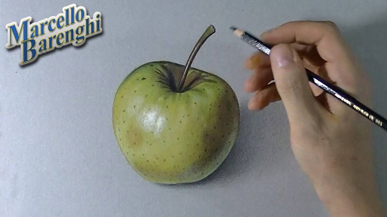 How to draw a 3D yellow apple