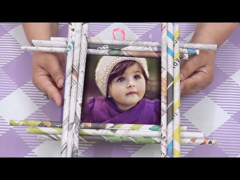 How to make photo frame using newspaper   Easy Craft Newspaper Photo Frames   DIY Frame