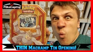 pokemon cards walgreens thin machamp tin opening with 3 booster packs