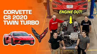Top mount TWIN TURBO C8 Corvette FuelTech + Dual Clutch Upgrade + Engine OUT! (English Subtitles)