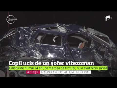Șocant! Copil de 14 ani spulberat de pe trotuar de un şofer inconştient, care circula cu 140 de k