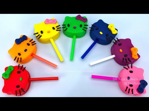 Learn Colors with Play Dough Hello Kitty Lollipops and Cookie Molds, Surprise Toys Kinder Surprise