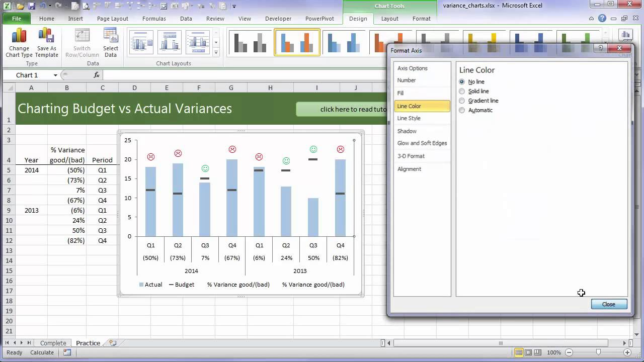 excel variance charts youtube