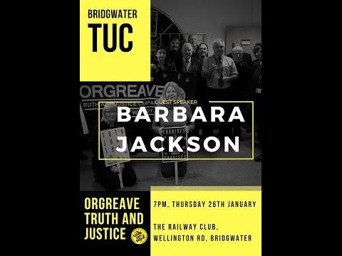 #OrgreaveJustice - Barbara Jackson speaking in Bridgwater
