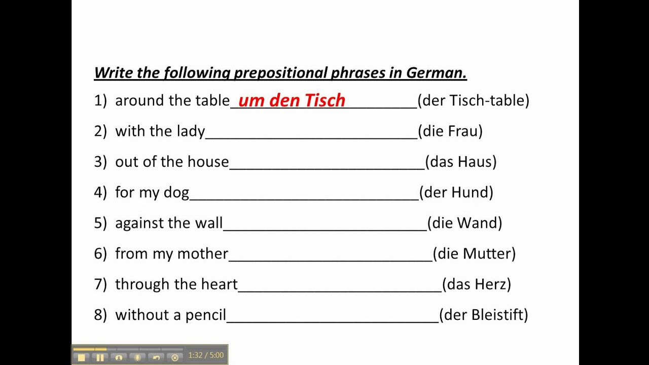 worksheet Prepositional Phrases Worksheets practice with prepositional phrases in german www germanforspalding org youtube
