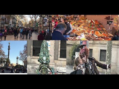 Walk along La Rambla Barcelona from Pl. Catalunya to Columbus's Monument - La Boqueria