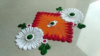 Easy, small and quick rangoli design for festival