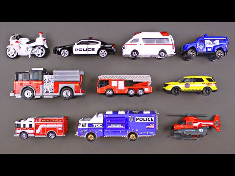 Learning Emergency Vehicles for Kids - Rescue Trucks & Cars by Hot Wheels, Matchbox, Tonka, Tomica