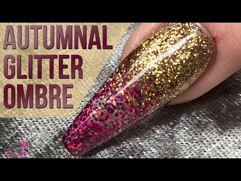 Autumnal Glitter Ombré Design - Quick and Easy Nail Tutorial - Transparent Look