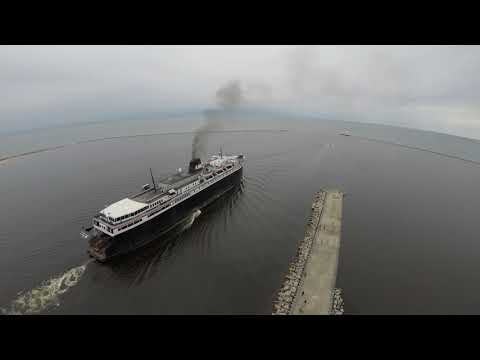 SS Badger departs Ludington Michigan for first sailing of the 2018 season
