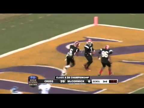 #7 RB Jay Weaver of McCormick w/ 66 yard TD run vs Cross