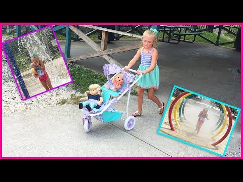 Playing with American Girl Bitty Ba Twin Ba Doll Stroller at the Playground and Splash Park