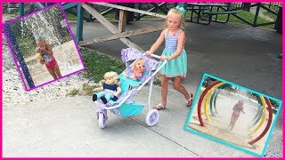 Taking our Babydolls to the park and playground before going to the waterpark