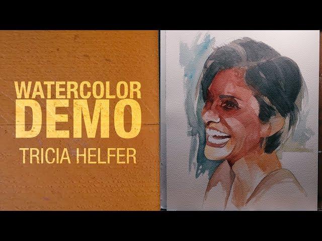 Watercolor demo - Tricia Helfer Portrait