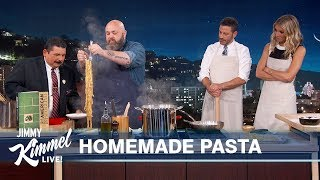 Chef Evan Funke Makes Tagliatelle Al Ragu with Jimmy Kimmel & Gwyneth Paltrow
