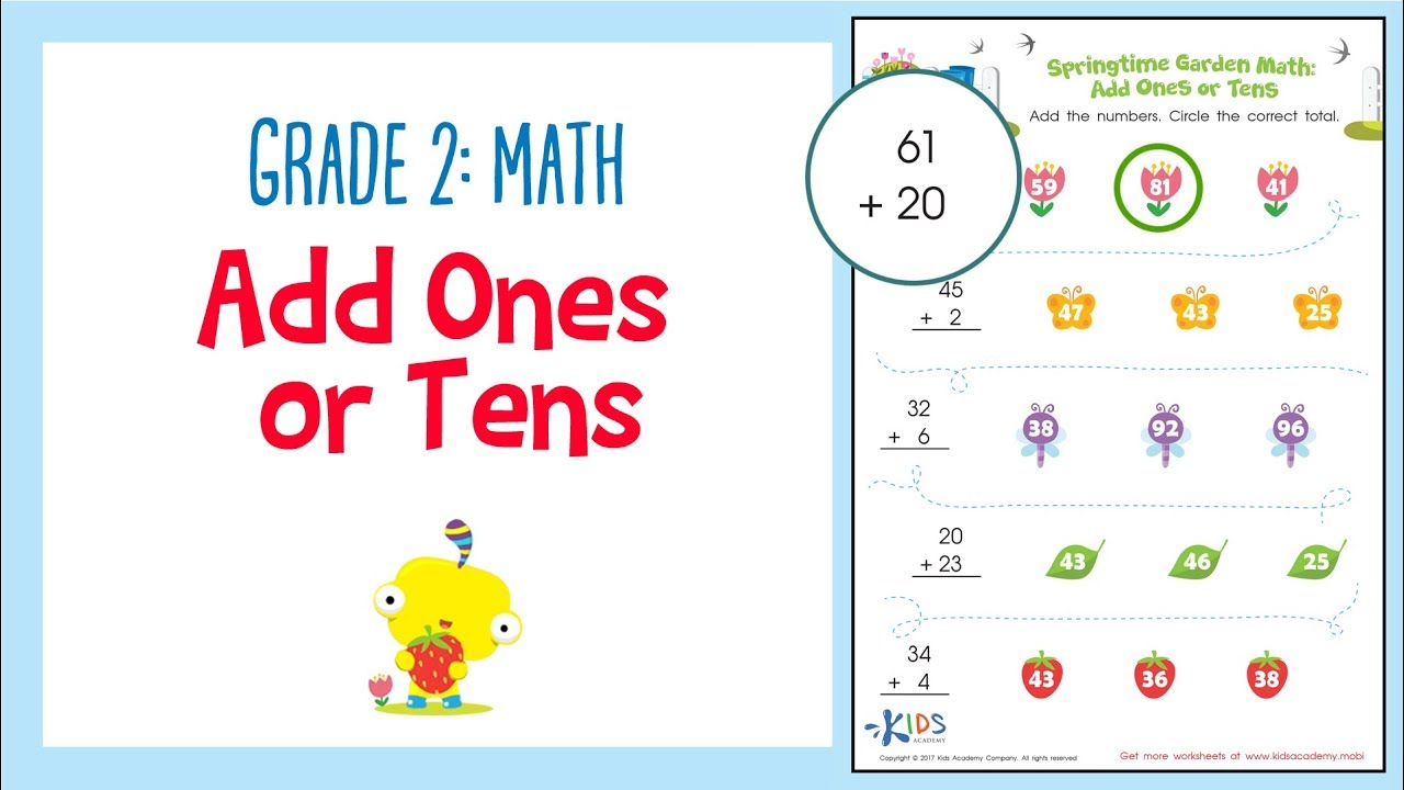Worksheet: Add Ones or Tens | 2nd Grade Math Worksheets | Kids ...